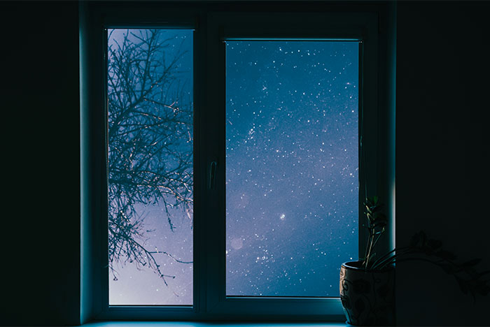 Sky view at night from window